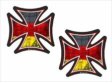 2pc Sml IRON CROSS & Germany German Flag Retro Biker vinyl car Helmet Sticker