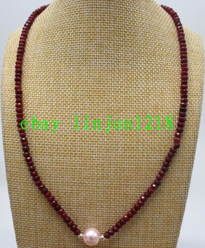 NEW 2x4mm Brazil Red Ruby Roundel /& 9-10mm Pearl Gemstone Necklace 18/'/' AAA