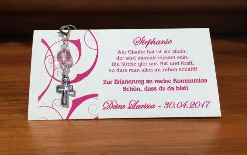 Gastgeschenk Tischkarte Kommunion Konfirmation Kreuz Fisch Engel pink rosa