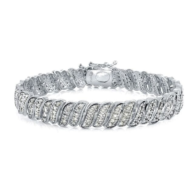 1.00ct TDW Genuine Diamond Wave Link Tennis Bracelet in Brass in Brass