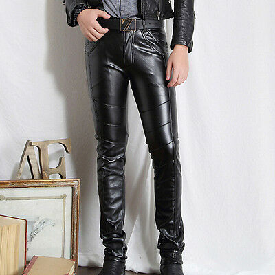 Young Men Faux Leather Thin Slim Pencil Pants Casual Hot Biker Trousers No Belt