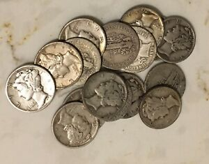 Qty-1-1916-1945-One-90-Silver-Mercury-Dime-Coin-Average-Good-from-Mixed-Lot
