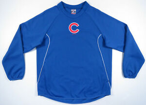Chicago-Cubs-Blue-Majestic-Authentic-Therma-Base-MLB-Baseball-Mens-Pullover-XL