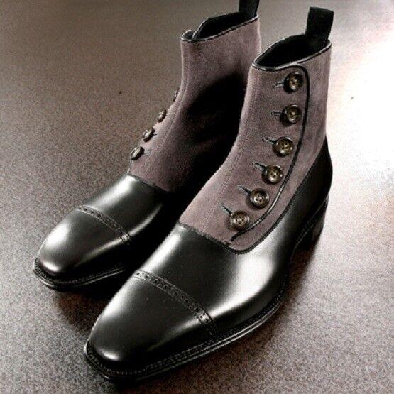 Gli uomini fatti a mano da due tonalità Formale Boot da mano Uomo Bottoni Cap Toe Scarpe Caviglia 1e098d