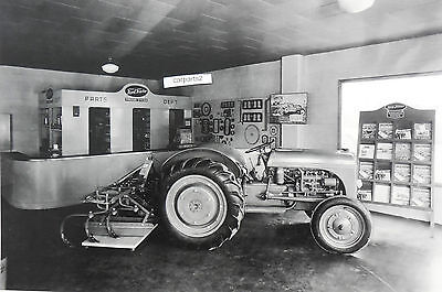 """12 By 18"""" Black & White Picture Ford Tractor 2N in Dealer Showroom"""