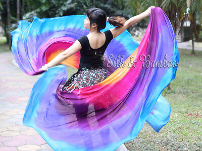 1 PIECE 2.7m*1.1m 6mm real silk tie-dye Iridescence half circle belly dance veil