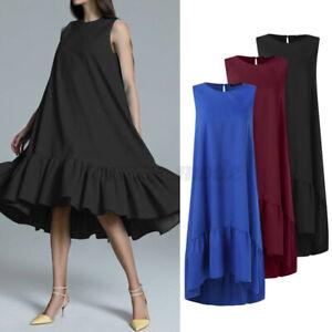 Mode-Femme-Robe-Dresse-Col-Rond-Loose-Bohemienne-Sans-Manche-Plisse-Oversize
