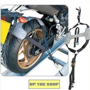 Motorbike-motorcycle-transportation-Tyre-Tie-Down-Ratchet-amp-straps-wheel-brace