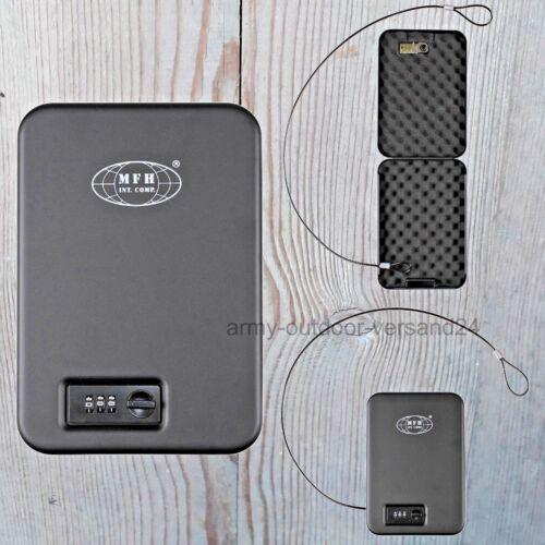 Mobile Metall Sicherheitskassette schwarz mit Zahlenschloss Schlüsselkassette