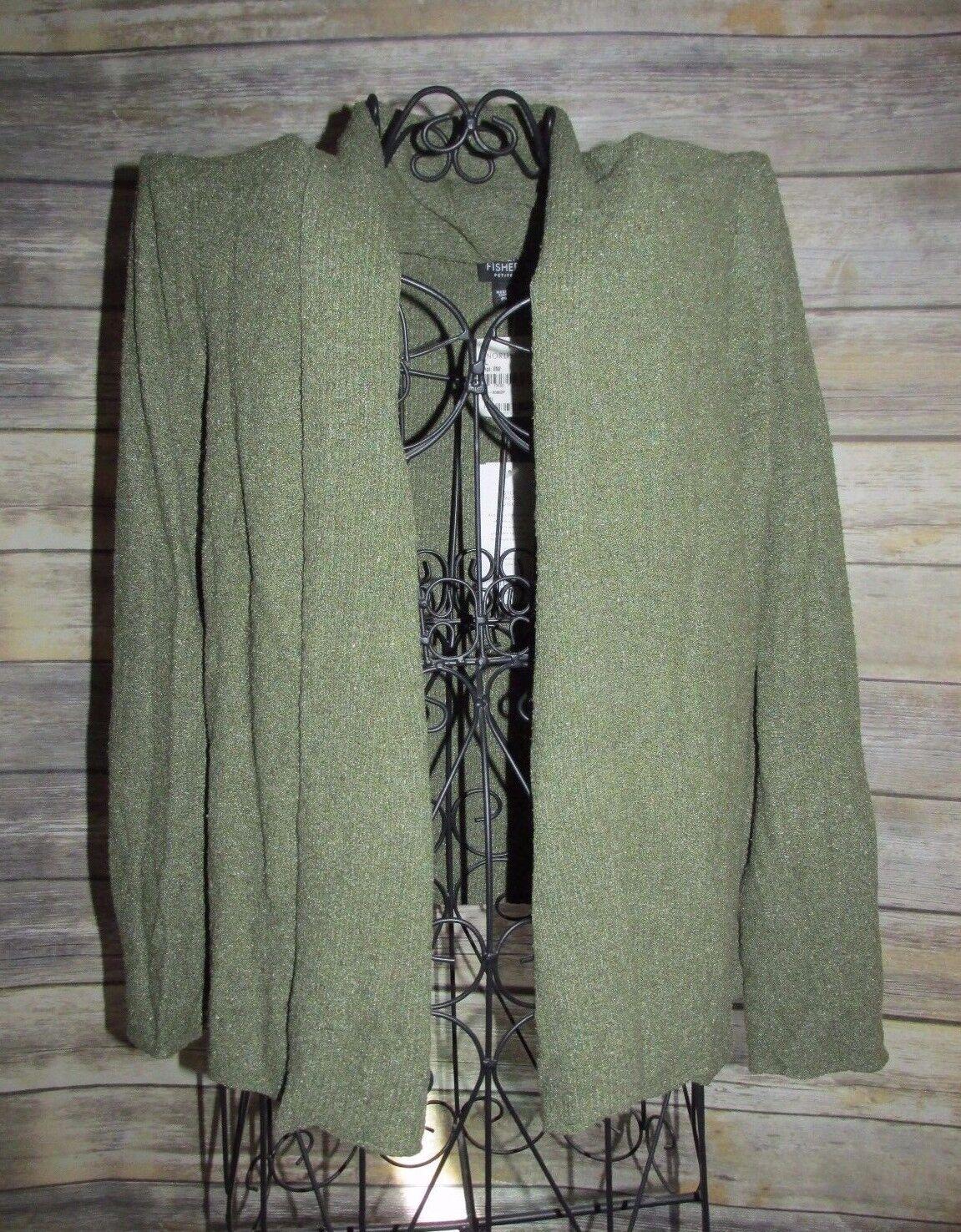 Eileen Fisher Thyme Green Silk Blend Open Front Cardigan Duster Sweater Sz PL