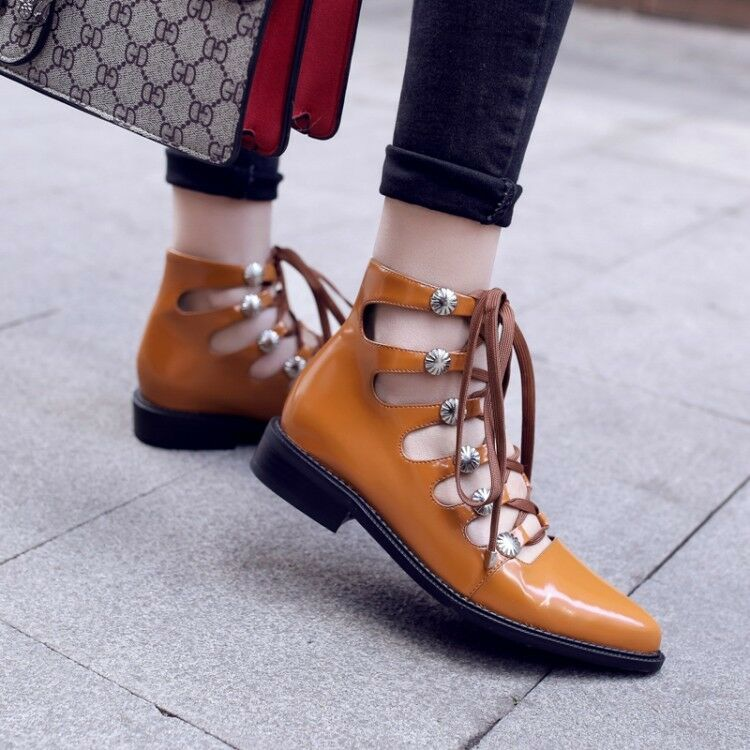 donna Lace Up Pointed Toe Oxfords Chunky Low Block Heels Solid High Top sautope