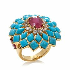 Carol Brodie SS Vermeil Turquoise, Ruby and Zircon Ring