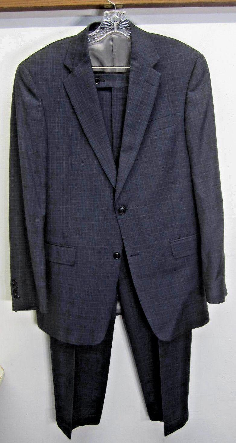 EUC  Hart Schaffner Marx Suit Blazer & Pants Blau windowpane 2 btn 40L 32x32 USA