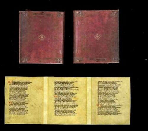 Miniature Handcrafted Book Canterbury Tales Prologue Dollhouse Miniatures