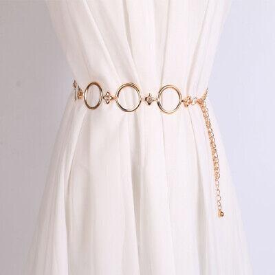 Gold Metal Flower Crystal Belt Women Fashion Waist Plate Chain Band Girdles Gift