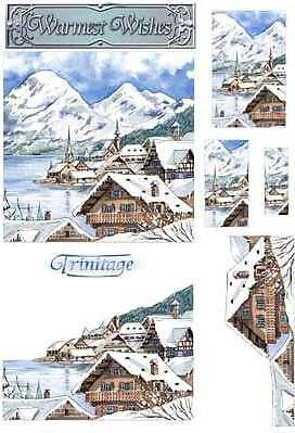 3D Trinitage Pop-up Card Making Paper Tole Alpine Winter NEW