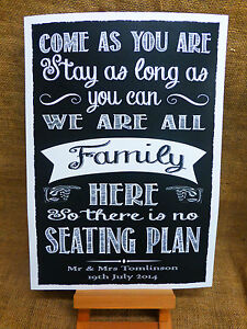 Image Is Loading No Seating Plan Sign A3 Vintage Chalkboard Style