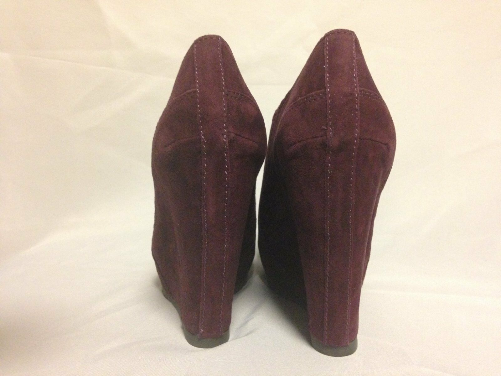Luxury Rebel Kera Wedge Heel Ankle Boot 37 1/2 M Bordeaux Suede New w/ Box