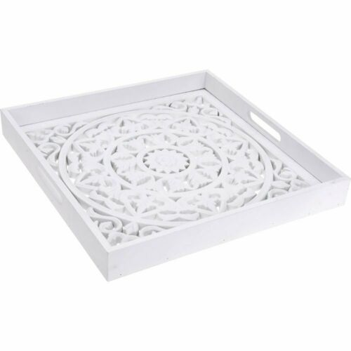 Square serving tray with decorative bottom wooden decorative tray in white colo