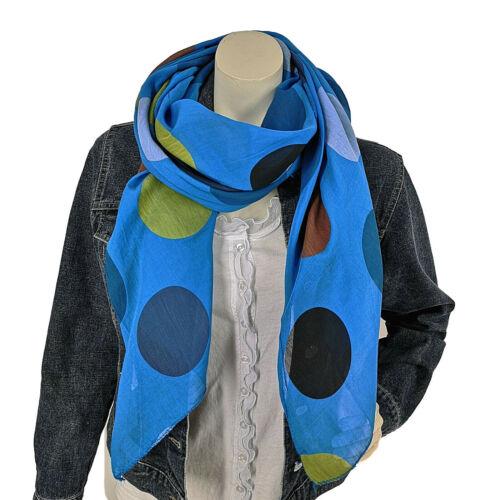 Seide Baumwolle Italy Royalblau Bubbles Punkte Gelb Blau Grün Schal Tuch Loop m