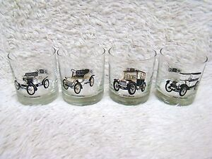 Lot-of-4-Antique-Cars-3-5-034-Bar-Glasses-Olds-Cadillac-Buick-Chevy-by-Delco