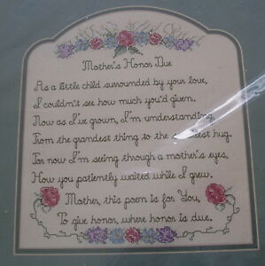 Vintage 1996 Mother's Honor Due Counted Cross Stitch Kit Sandi Phipps Sealed