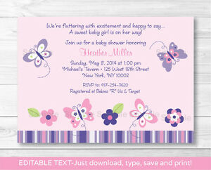 Pink purple butterfly garden printable baby shower invitation image is loading pink purple butterfly garden printable baby shower invitation filmwisefo