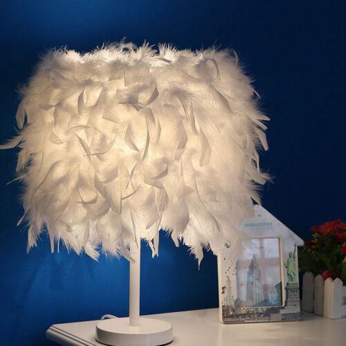 Luxury Feather Shade Table Desk Lamp Bedside Lamp LED Bedroom Decor Fairy Light