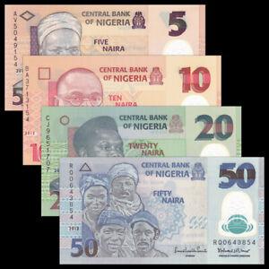 Nigeria-Set-4-PCS-5-10-20-50-Naira-P-34-38-39-40-Polymer-Banknotes-UNC