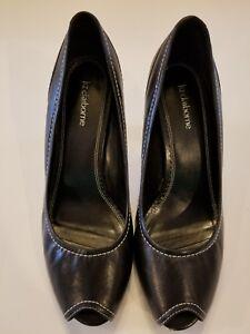 9a782698a7ae Image is loading Liz-Claiborne-Deltona-Black-Leather-Peep-Toe-Womens-