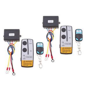 2x-Kit-Telecomando-Senza-Fili-12V-50ft-Per-Camion-Jeep-ATV-Winch-KLS-205-2