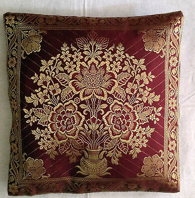 "Cushion cover Indian Banarasi Brocade work synthetic silk Elegant Ethnic 12""X12"""