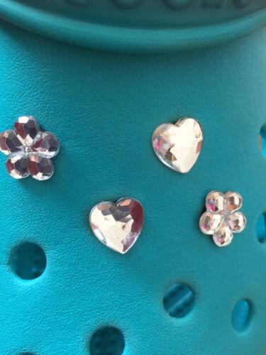 4 Diamante Gemma Hearts & Flowers Charms Per Crocs & Jibbitz Braccialetti