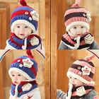 Cute Baby Toddler Winter Striped Beanie Warm Hat Panda Cap & Scarf Girls Boys
