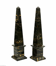 Coppia Obelischi in Marmo Portoro Marble Pair of Obelisk Classic Sculpture H25cm