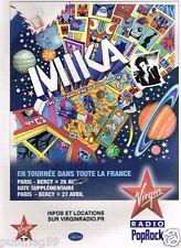 Publicité advertising 2010 Concert Mika evec Virgin Radio