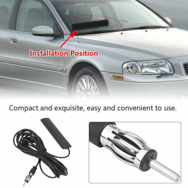 Universal Car FM Radio Antenna Patch Windscreen Mount 5M Cable~