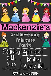 Personalised Girly Birthday Party Invitation inc envelopes