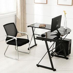 Glass Laptop Table LShape Corner Computer Desk PC Black