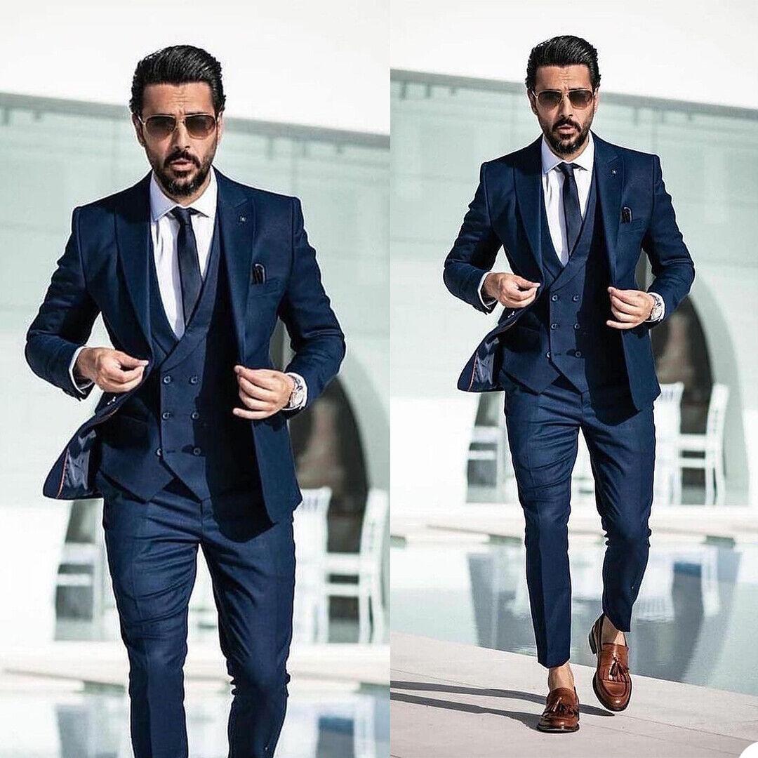 Blue Business Men Suit Slim Fit Groom Wedding Tuxedos Prom Tailor Work Wear Coat