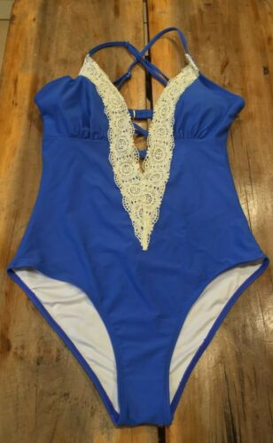Women's Cupshe Vintage Blue Plunge One Piece Swimsuit Lace Size Medium NWT