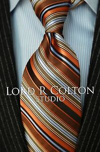 Lord-R-Colton-Studio-Tie-Salmon-Gold-amp-Blue-Woven-Stripe-Necktie-95-New