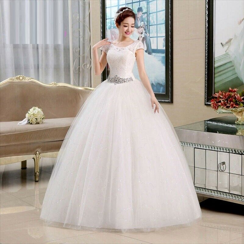 Ball Gown For Brides Short Sleeves Lace Wedding Dress Elegant Floor-length Gowns