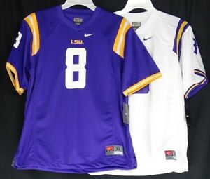 quality design bafb1 09e3c Details about LSU Tigers Youth Boys NIKE White or Purple #8 Football Jersey  NCAA