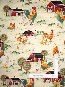 Farm-Barn-Rooster-Scenic-Early-Riser-Cream-Cotton-Fabric-MDG-CP38146-By-The-Yard