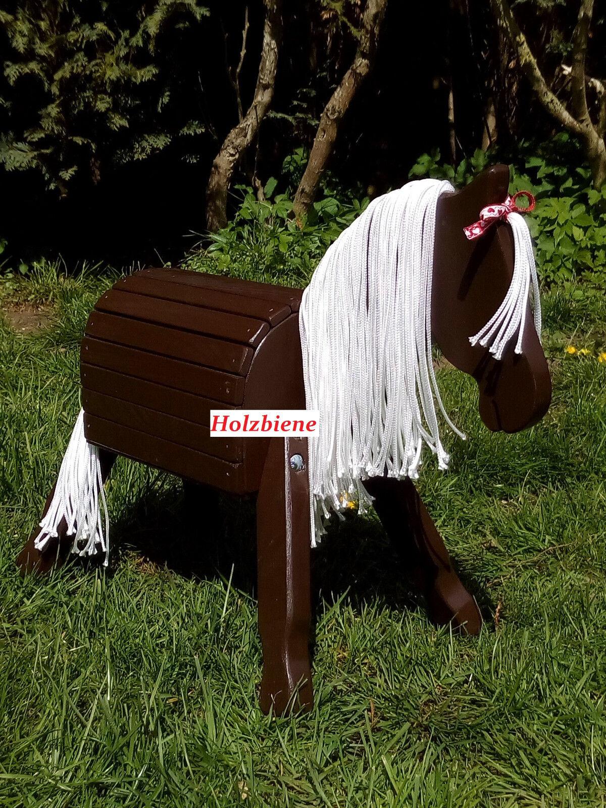 Holzpferd, Holzpony, Pony,  34cm Stockmaß, dunkelbraun,  NEU