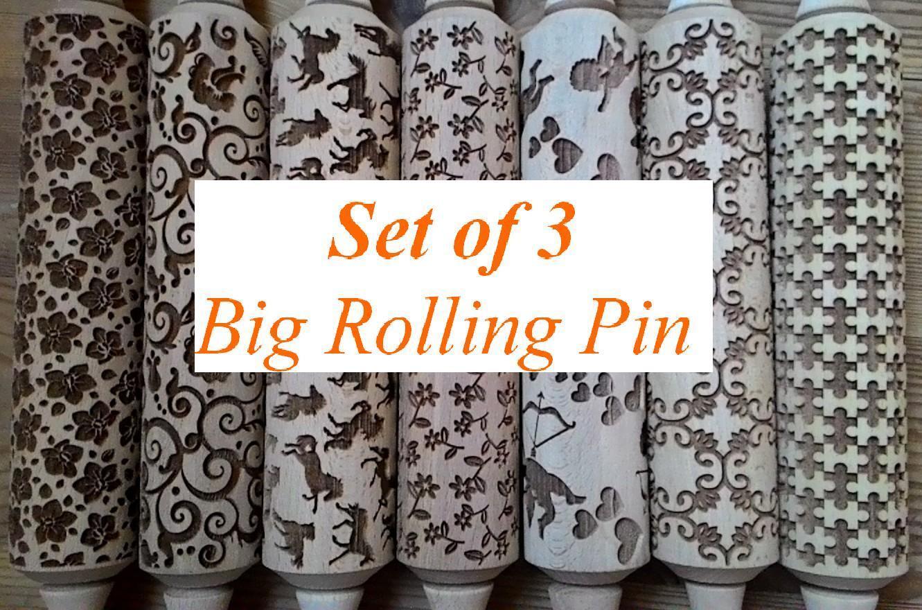 Lot de 3 Gaufrage Rolling Pin pour cookies. Choisissez Tout motif de notre boutique