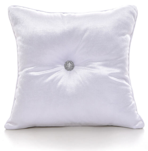 Chenille White Round Cushions Luxury Diamante Centre Filled Scatter Cushion