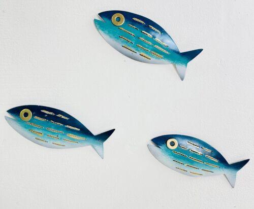 Metal Wall art suspendus-Lot de 3 Marbré Poisson-Aqua Rayure