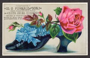 FURNALD & SON BOOTS, SHOES Ornate Shoe Rose Victorian Trade Card MANCHESTER, NH